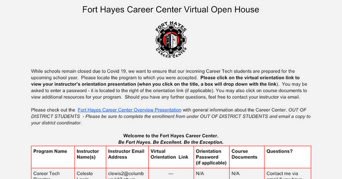 Fort Hayes Career Center New Student Virtual Orientation 2020-2021