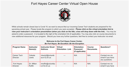 Fort Hayes Career Center New Student Virtual Orientation 2020-21