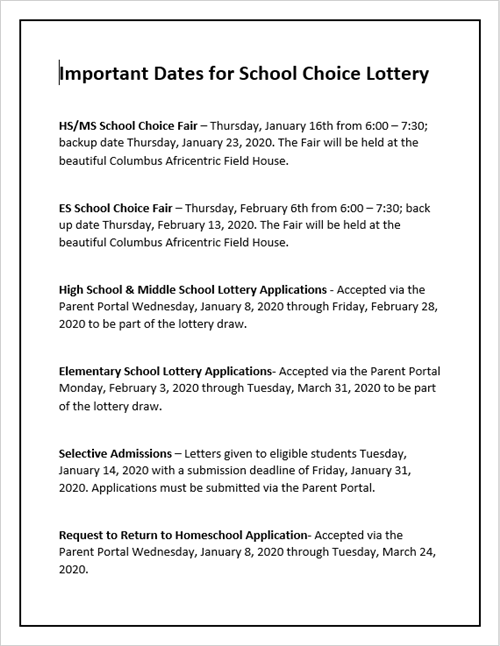Important Dates School Choice Lottery