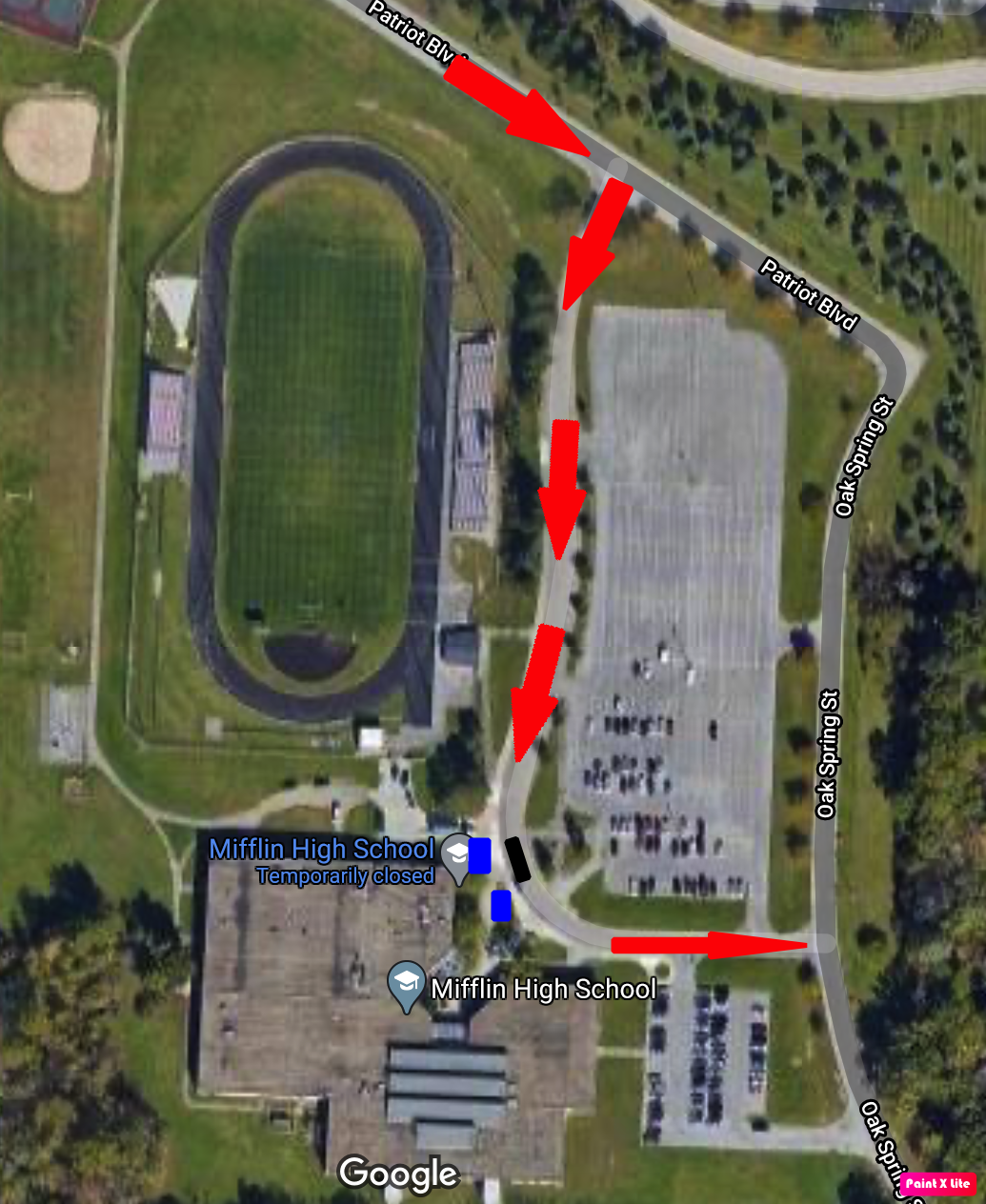 Map of Pick Up Drop Off Route